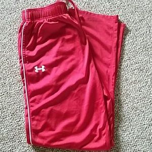 Mens large red Under Armour athletic pants